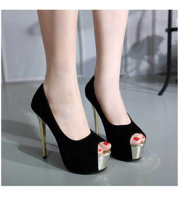Brand HXRZYZ spring/summer fashion Slip-On platform 14cm super high heels sexy Peep Toe thin heel pumps black red shoes women