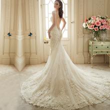 Vestido De Noiva Renda 2016 Vintage Lace Backless Wedding Dresses Bride Sexy Mermaid Civil Wedding Gowns 2016 Vestidos Casamento(China (Mainland))