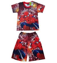 spider man costume spiderman suit boys girl spider-man cartoon Children's t shirts+short pants 2pcs/Set fashion chilren clothing(China (Mainland))