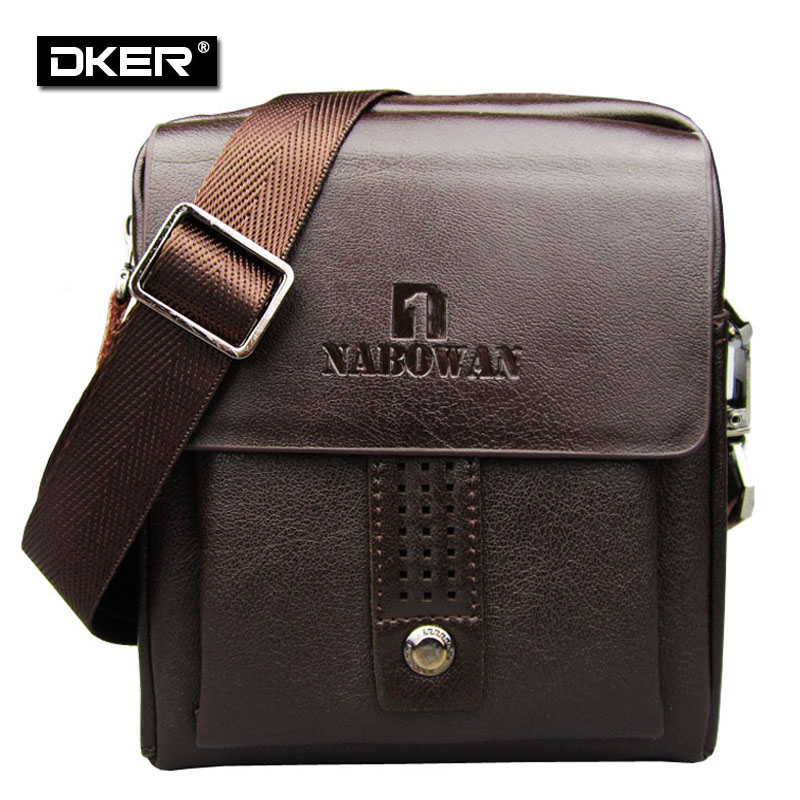 Brand Logo ! Casual Mens Genuine Leather Messenger Bags Small Shoulder Bag For Men Black Brown 151342 free shipping(China (Mainland))