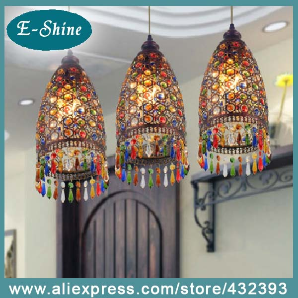 New Mediterranean Black Iron Shell Colorful K9 Crystal Ceiling Pendant Lamp Lighting Chandelier Dining Bohemia corridor bedroom(China (Mainland))