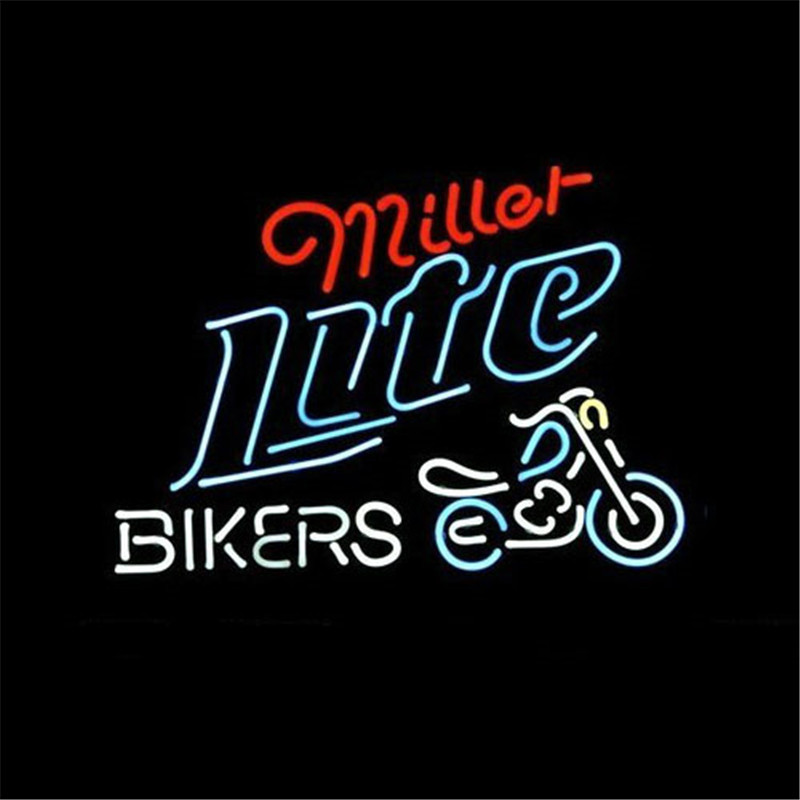 """NEON SIGN For MILLER LITE BIKE BIKERS BICYCLE LOGO Signboard REAL GLASS BEER BAR PUB display christmas Light Signs 17*14""""(China (Mainland))"""