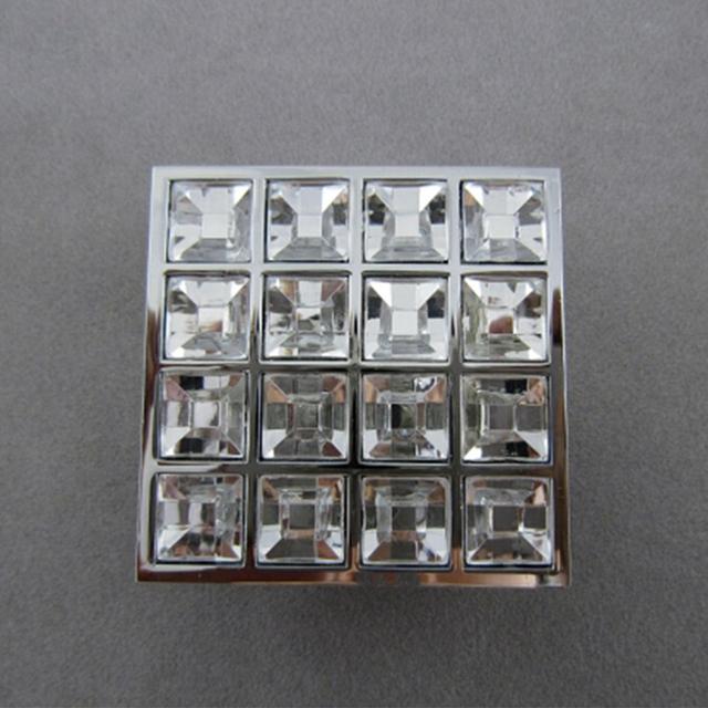 Square 16 Glass Diamond Furniture Kitchen Handles Knobs Cabinet Handle Door Knob Chrome Finished Dressers Drawer Pulls