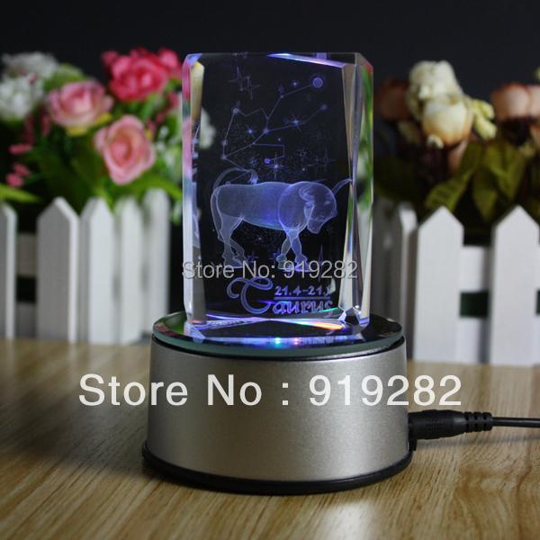 Free shipping, crystal birthday gift,3D laser engraving crystal,USB colorful rotating LED light base,crystal gift,constellation(China (Mainland))