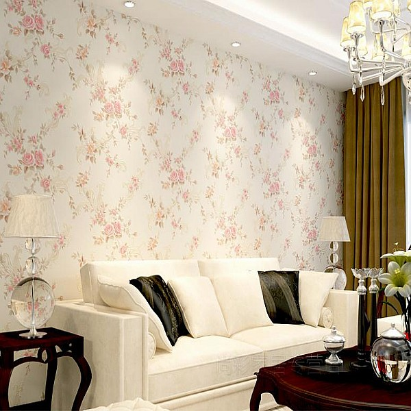 3D Non-woven Wallpaper Roll Pastoral Style For Living Room Bed Room TV Setting Pink Blue Wallpapers Wall World(China (Mainland))