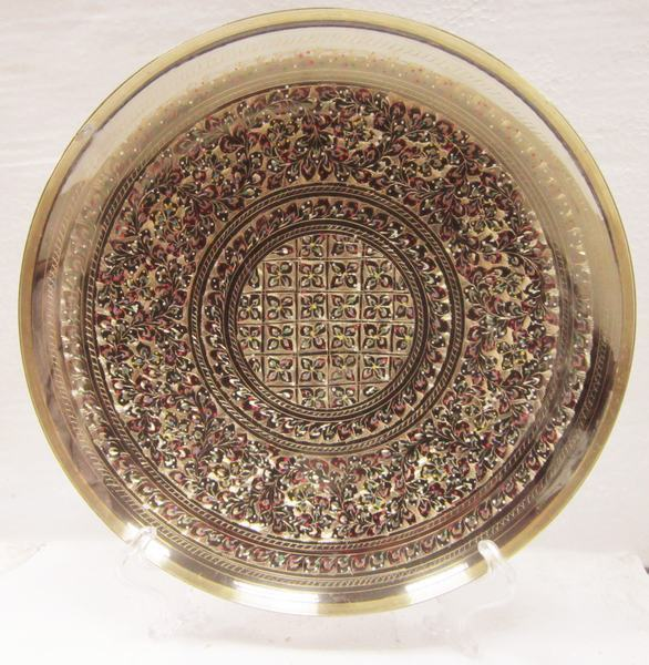 Beautifully colorful hanging plate bronze Pakistan Pakistani handicrafts wedding gift decoration decorative plate color point(China (Mainland))