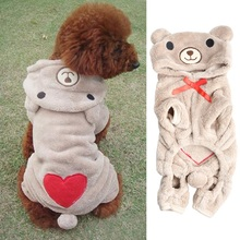 New Cute Bear Shape Winter Clothes for Dogs Pet Warm Coat Small Medium Dog Soft Jumpsuit Outwear XS To XL(China (Mainland))