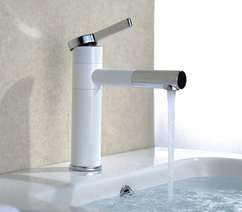 Bathroom Sink White : Free shipping white color basin tap Brass white faucet Bathroom Sink ...