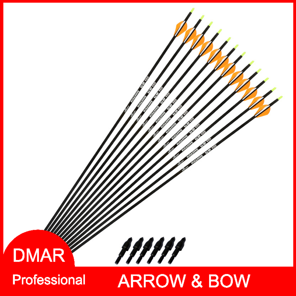 "6pcs Pure Carbon Arrow 32"" Spine 400 Feather Blazer Vanne X I.D.6.3 mm/0.25"" for Recurve Bow Compound Bow Archery Accessories(China (Mainland))"