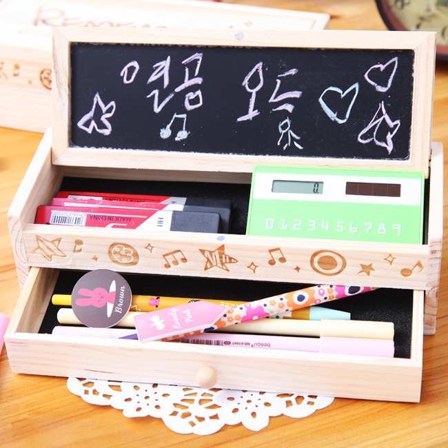 free shipping Wool pencil box stationery box large capacity brief wooden pencil case wooden case(China (Mainland))