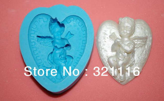 Free Shipping Silicone cake tool,Heart angel cutter fondant cake decoration,DAB 3d molds,Cake cutter mold for party,TS39061