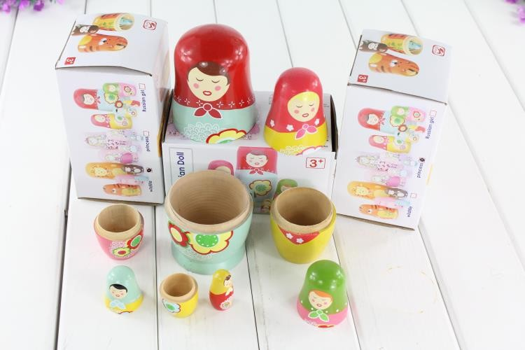 Children Russia dolls wooden toys/ big size wood matriarchy puppet each with 5 different size dolls memory toy, free shipping(China (Mainland))