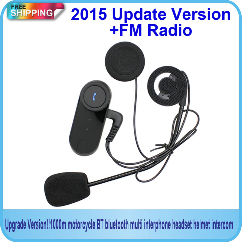 Free Shipping!!2015Updated Version !! Original BT Bluetooth Motorcycle Helmet Intercom Interphone Headset with FM Radio(China (Mainland))
