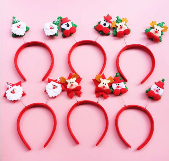 10Pc/Lot Merry Christmas Hairband Hair Hoop Accessories Happy Santa Headband For Women Kids Ornament Supplier Random Deliver(China (Mainland))
