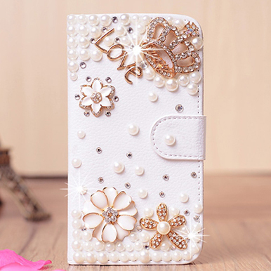 Luxury Rhinestone Case Lenovo a808, Gold Crown / pearl flower diamond phone protective holster Lenovo a808 Case Free shipping(China (Mainland))