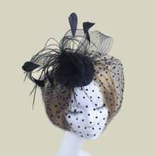 Novelty Bridal Headdress Hair Accessories Wedding Banquet Feather Hairpin Veil Cover The Face Small Hat Gauze Bow Headwears