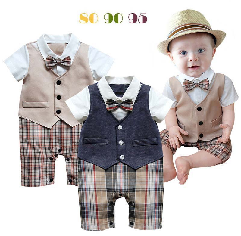 Baby boy romper newborn clothing rompers baby clothes College style waistcoat romper bebe infant Gentleman romper kid's jumpsuit(China (Mainland))