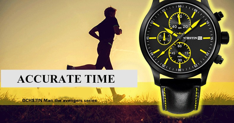 2016 New Fashion Men Watches Leather Men's Quartz Hour Clock Analog OCHSTIN Watch Men Sports Military Wrist Watches Male