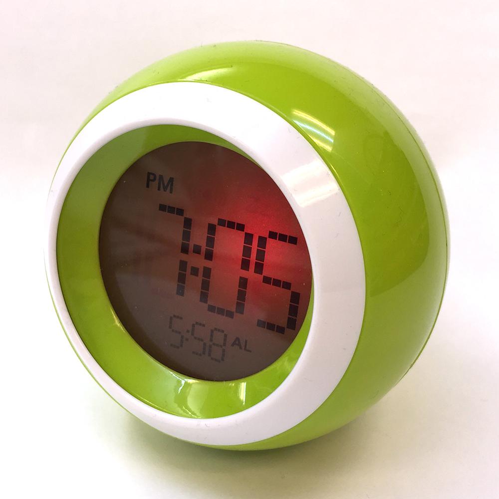 1 piece mute luminous LED lamps electronic alarm clock/ lazy people bedside small alarm clock/ muliticolor fashion round clock(China (Mainland))