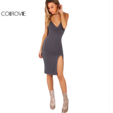 Buy COLROVIE Split Side Cami Summer Dress Women Grey Bodycon Sexy V Neck Midi Club Dresses 2017 Fashion Backless Empire Party Dress for $10.98 in AliExpress store