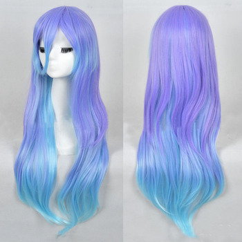 New LOLITA Purple Blue Wig Long Straight Heat Resistant Hair Cosplay Costume Wig