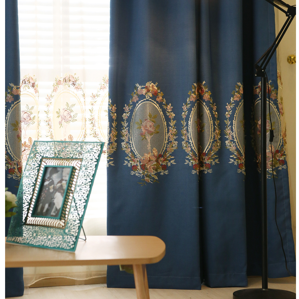 Finish Product Linen Thicken Embroidery Curtains Thermal Insulated Sound Insulation Blackout Curtains,Modern Living Room Curtain(China (Mainland))