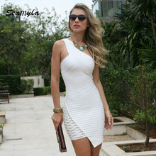 Buy Seamyla New Fashion Women Celebrity Party Dresses One Shoulder Sexy Mini Summer Dress 2017 Sleeveless Bodycon Bandage Dresses for $29.59 in AliExpress store