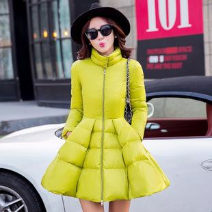 2015 Women Slim White Duck Down Cloak Coat Outerwear Female Long European Style Lady Stand Collar Winter Warm Jacket Coat WY191