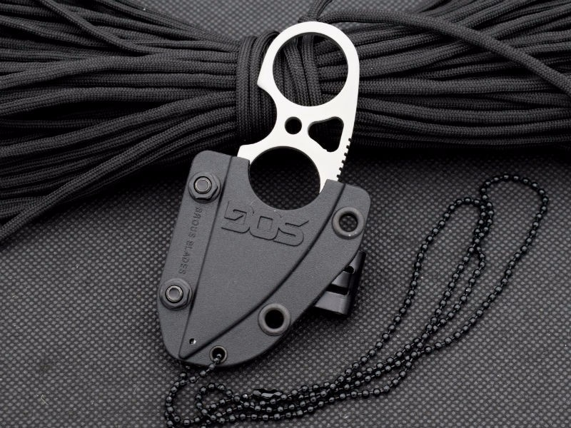 Buy 58-60HRC 9CR18MOV Steel Blade Necklace Survival Knife SOG Fixed Knife Onepiece Hunting Tactical Knives Camping Outdoor EDC Tools cheap