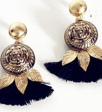 New 2016 Coming Fashion Design Jewelry Gold Round Shape Charms Big And Large Tassel Drop Earrings for Women 176KKG(China (Mainland))