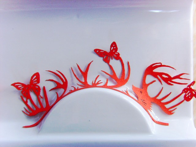 Paper cutting false eyelashes chinese style red butterfly make-up(China (Mainland))
