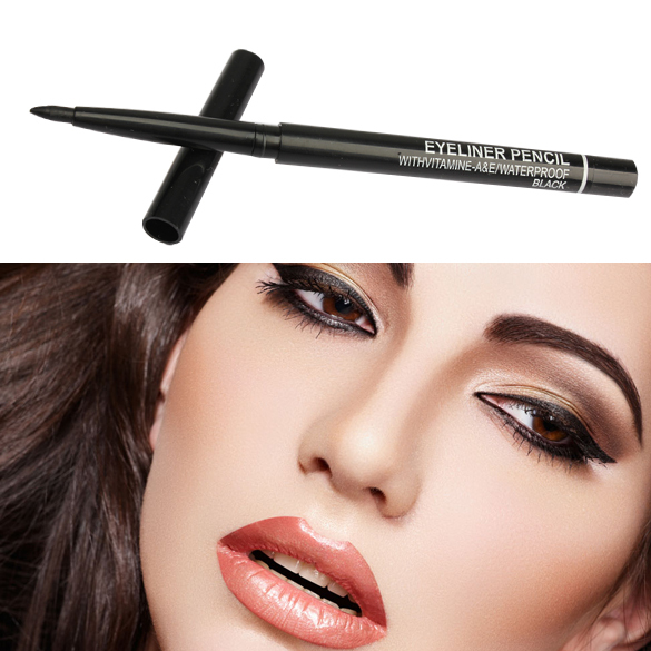 2 pcs Waterproof Rotary Gel Cream Liquid Eye Liner Black Eyeliner Pen Makeup Cosmetic maquiagem(China (Mainland))