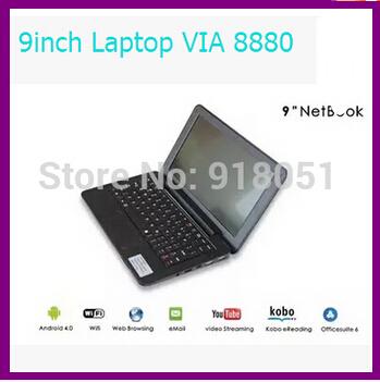 Freeshipping 9 inch VIA 8880 Mini Laptop 512M 4GB Ultrabook HDMI Camera WIFI RJ45 Android 4.2 Netbook Notebook(China (Mainland))