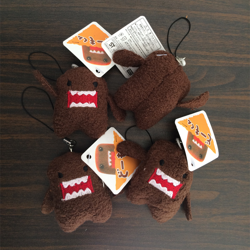 5Pcs/set DOMO KUN Plush toys 5cm mini Phone Charm Pendant dolls Lanyard Bag Key chain domokun funny kawaii keyring Domo-kun toys(China (Mainland))