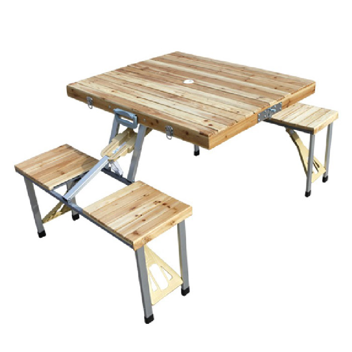 Pine wood folding table one piece folding table portable for Compact table and chairs set