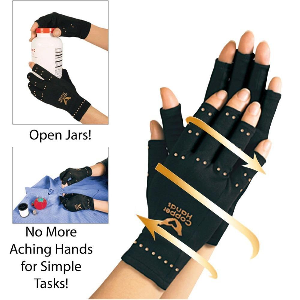 Men Copper Hands Arthritis Gloves As Seen on Tv Therapeutic Compression Black(China (Mainland))