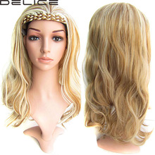 """22""""/55CM Women Long Body Wavy Wigs Wigh Braided Hairband Synthetic Curly 3/4 Half Wig With Headband, 210g/pc, 18 Colours BW-888(China (Mainland))"""