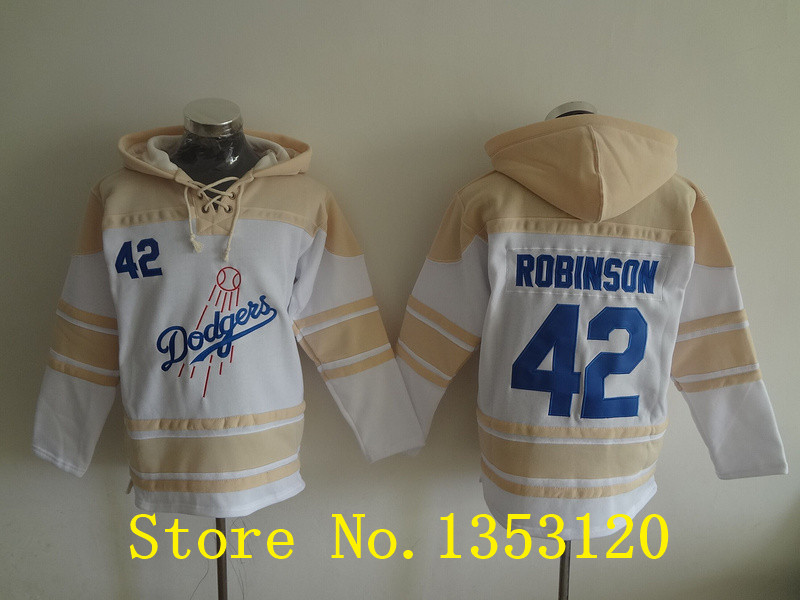 Los Angeles Dodgers Hoodie Jersey  #42 Jackie Robinson Jersey Los Angeles Dodgers Stitched Pullover Hoodie jersey Free Shipping