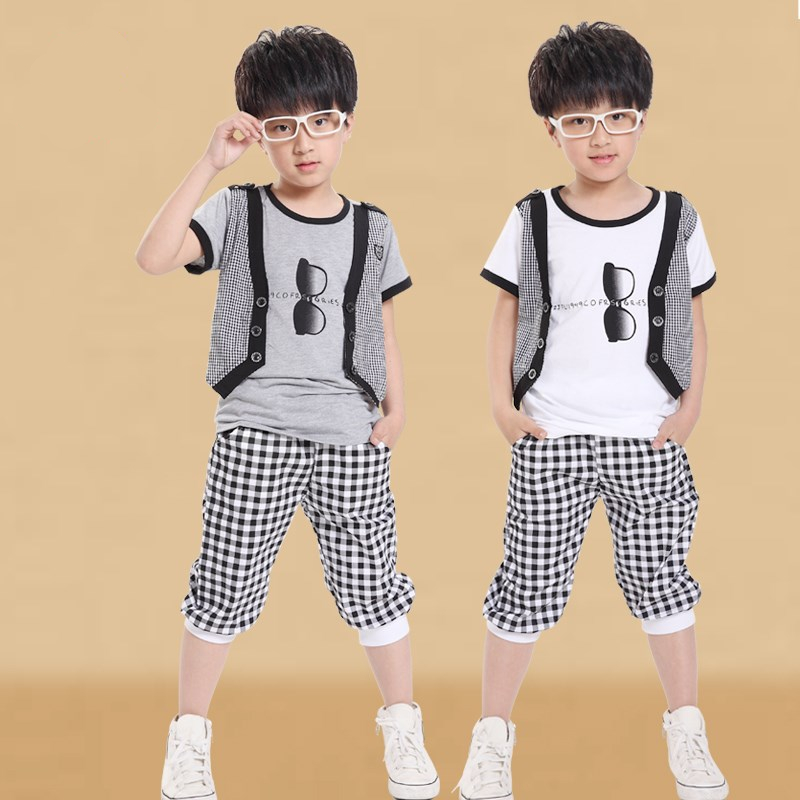 New Summer Children Glasses Short Sleeve Clothes Sets Boys Kids Plaid Garments Teen Clothing for Boys T-Shirts Shorts Suit