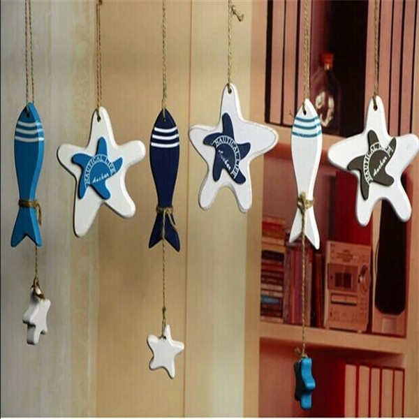 Mediterranean Style Home Stores Decoration Ornaments Hanging Wood Crafts Fish Starfish 1Pcs/Lot Wholesale(China (Mainland))