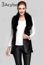 2014 new women's fashion brand winter autumn women Leather grass vest,women faux fur jacket,coats,woman long vest 51(China (Mainland))