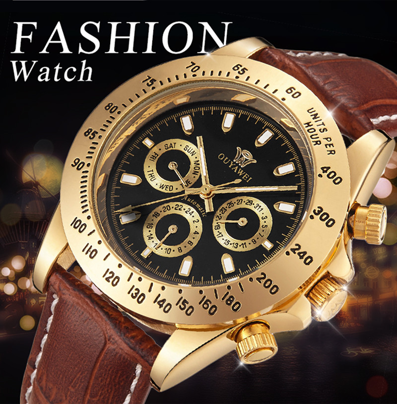 2016 NEWEST OUYAWEI Gold mechanical watch Top Brand Luxury army wrist watches for men 22mm leather skeleton reloj hombre