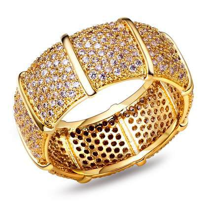 Mansaku New Women Wedding ring 18K Gold Plated Cubic Zirconia Pave Setting Lead Free rings jewellery Clear stone(China (Mainland))