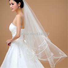 Moda velo nuovo 2015 hot economici wholsale off 1 t bianco avorio velo da sposa velo da sposa accessori da sposa veli bordo smerlato(China (Mainland))
