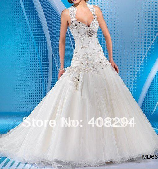 Stunning Halter Neck Drop Waist Organza Ball Gown Wedding Gowns