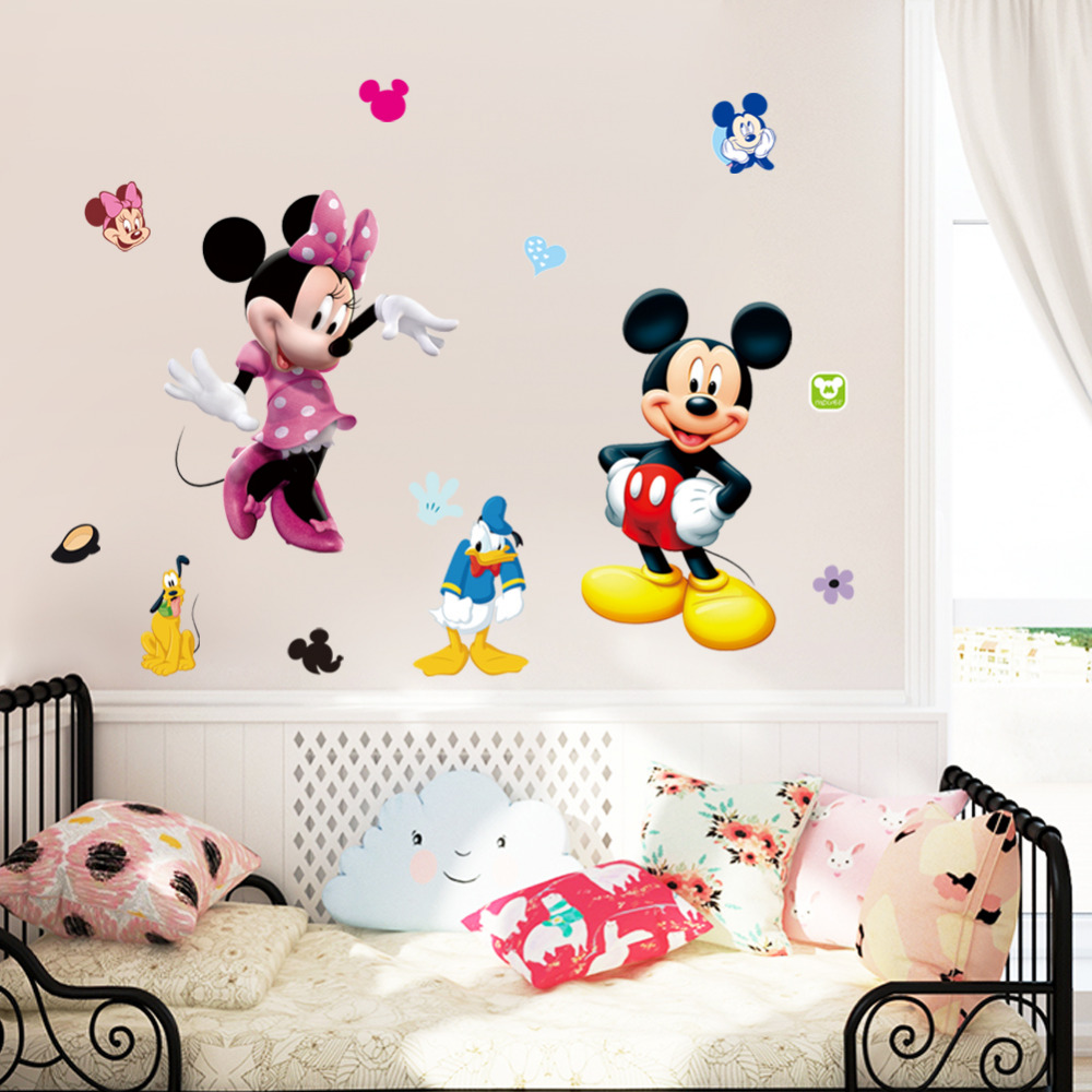 Cartoon mouse wall stickers home decor kindergarten for Stickers de pared
