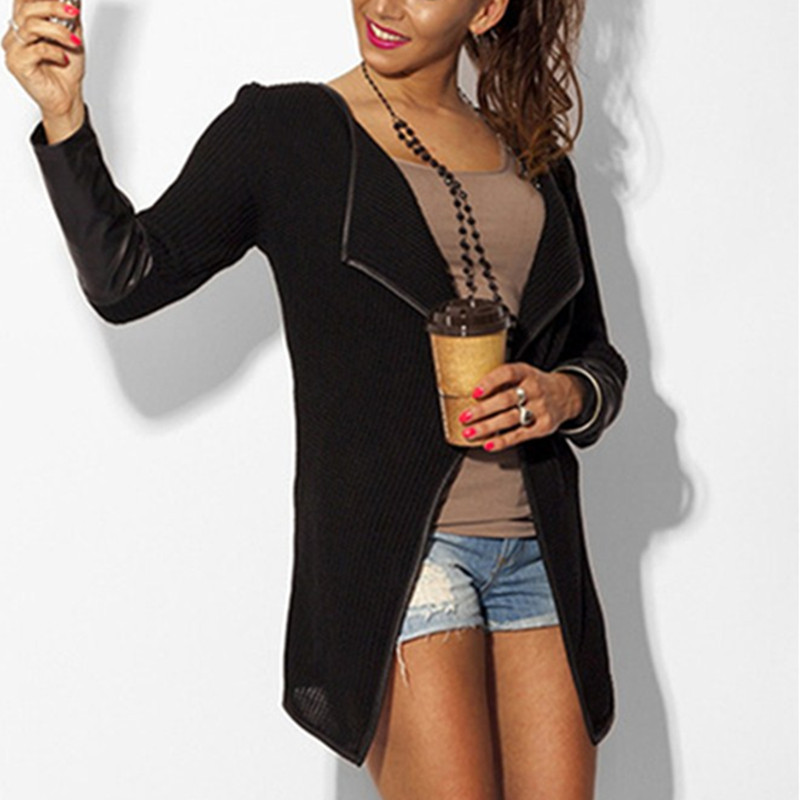 New-Fashion-2016-Spring-Women-Leather-Sleeve-Knitted-Cardigan-Fashion-Long-Sleeve-Slim-Poncho-Outerwear-Jacket