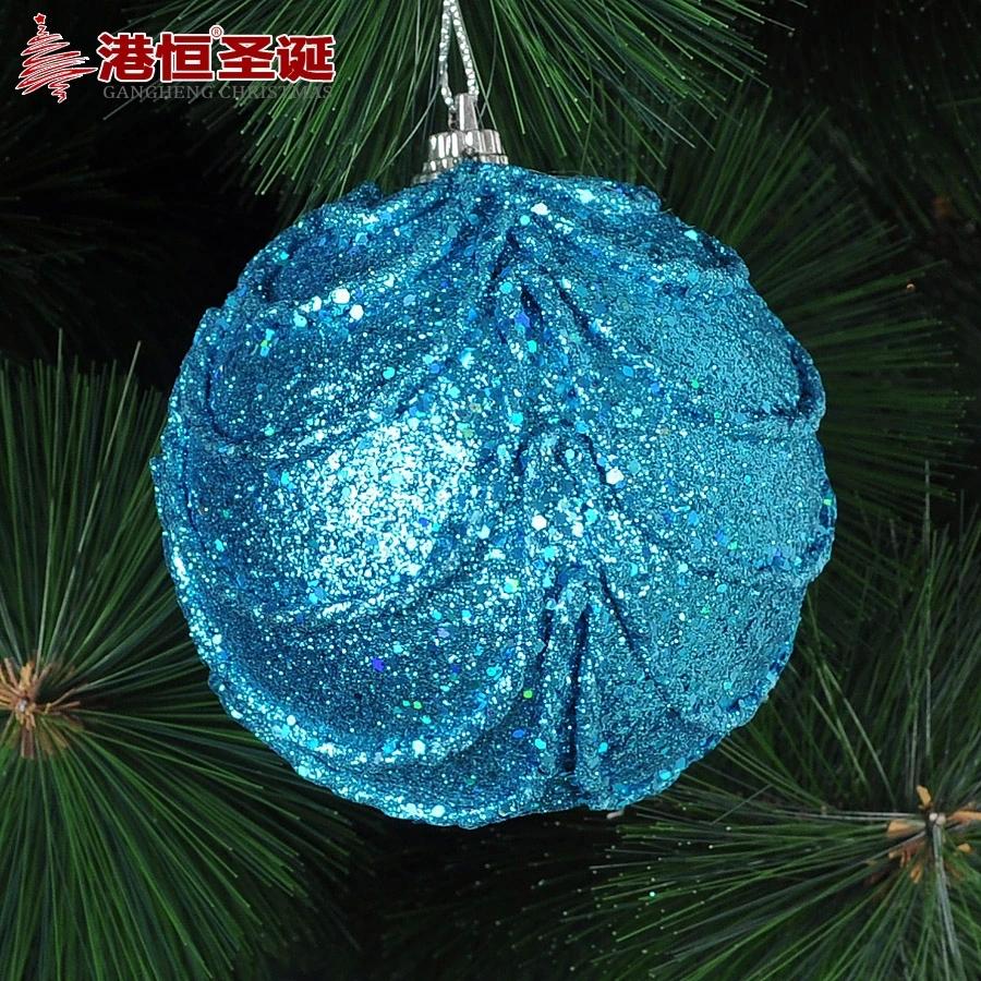 Christmas Tree Ornaments 8 cm blue foam luxury high quality Christmas balls 20 g (A pack of six balls) (GHB007-8)(China (Mainland))