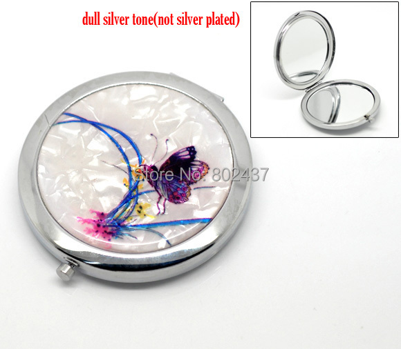 "Buttefly & Flower Pattern Make Up Compact Mirror 7.7x7cm(3""x2-3/4""), sold per packet of 1(China (Mainland))"