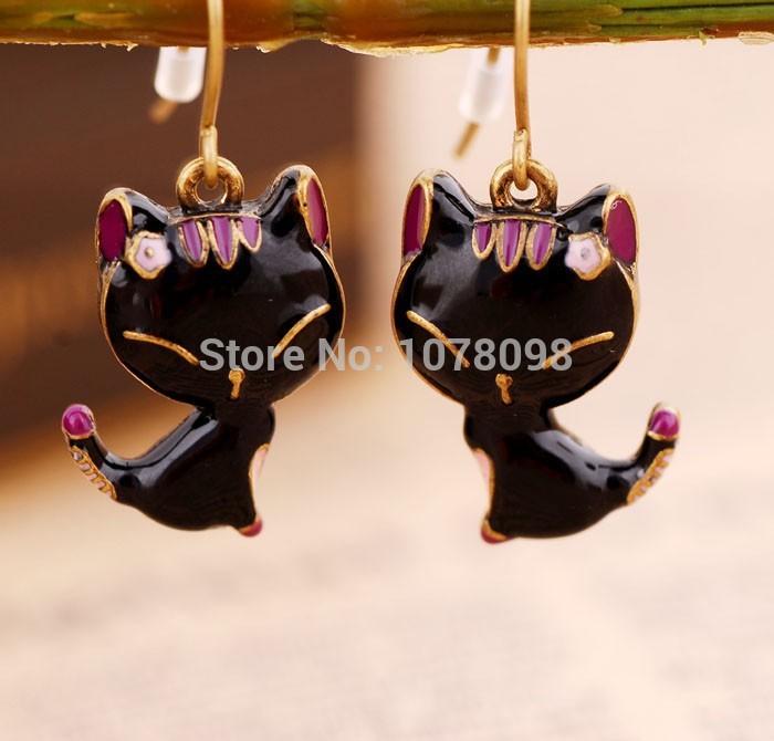 2015 Hot New Fashion jewelry wholesale Korean Fashion Lovable Smiling Cat Black Earrings female free shipping(China (Mainland))